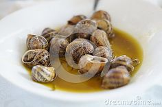 Snails in sauce on a white plate