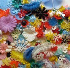 Vintage plastic flowers!  Yumm!