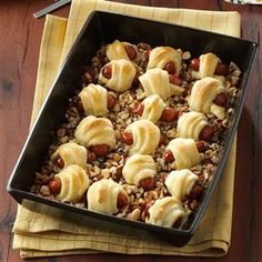 Sweet Sausage Rolls Recipe -It's hard to stop eating these savory sausage rolls in a sweet nutty glaze. —Lori Cabuno, Canfield, Ohio