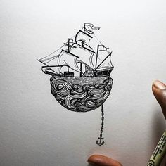 A ship drops anchor in this #penandink #drawing by Osman Mansaray (@os.mansaray), but the crew might be alarmed to discover that the sea is not as deep as they originally believed... Or perhaps the sea is bound to the sailing ship as they fly away like the pirate ship at the end of Peter Pan? Regardless of the story behind it, this is a wonderful illustration and looks as great on paper as I'm sure it would as a tattoo design. Awesome piece, Osman! ::---⛵---:: #sailing #pirate #boat #ocean…