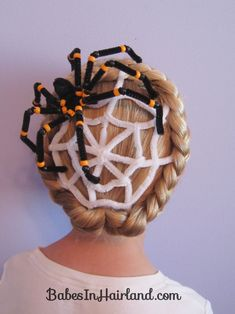 Spiderweb Hairstyle | Halloween Hairstyles (crazy hair day idea!! I call it!) I would freak out every time I saw the spider