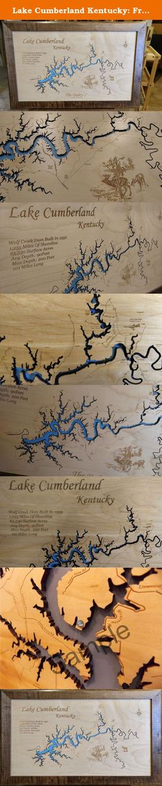 Lake Cumberland Kentucky: Framed Wood Map Wall Hanging. Lake Cumberland, Kentucky wooden engraved map with interesting history carved into wood. Each map has been created using a laser engraving machine. After the map has been cut out with the laser, and points of interest have been engraved into the surface, the detailed map is then mounted over a tranquil blue background. Beautifully detailed handmade English Chestnut wood frame. Each piece is a one of a kind production. The natural…