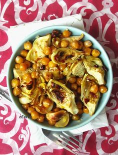 Roasted Artichokes Chickpeas & Garlic Salad with Lemon & Sesame by ecurry