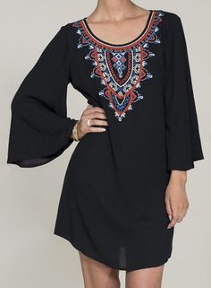 Black Long Sleeve Tribal Embroidered Dress 17.67