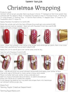 "♥ Tammy Taylor ""Christmas Wrapping"" Nail Design Step by Step Christmas Gel Nails, Christmas Nail Art, Holiday Nails, Christmas Wrapping, Great Nails, Love Nails, Holiday Nail Colors, Shellac Gel Polish, Tammy Taylor Nails"