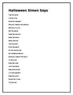 Halloween Simon Says by Brenna Ryan Preschool Halloween Party, Halloween Class Party, Halloween School Treats, Halloween Dance, Halloween Games For Kids, Halloween Activities, Halloween Themes, Spooky Halloween, Halloween Crafts