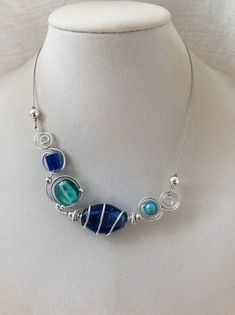 ASYMMETRICAL NECKLACE, Blue choker, Wire wrapped necklace, Wire necklace, Metal wire necklace, Aluminium wire necklace, Contemporary jewelry Wire Bracelets, Wire Necklace, Wire Wrapped Necklace, Wire Jewelry, Necklaces, Jewellery, Turquoise Jewelry, Turquoise Bracelet, Design Creation