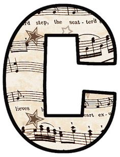Free letters and numbers in sheet music theme to use for Christmas and New Year's banners