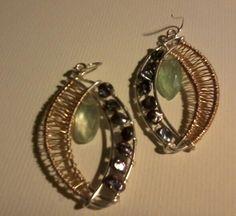 Florite & Kieshi Pearl   Wire-weaved Earrings $125.00