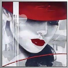 Quadro-moderno-stampa-su-tavola-MDF-03-VISO-DONNA-cappello-rosso-30x30-cm