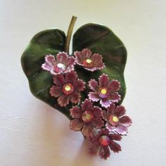 Stunning Vintage Enamel Violet Purple Green Rhineston Flower Pin 1960's