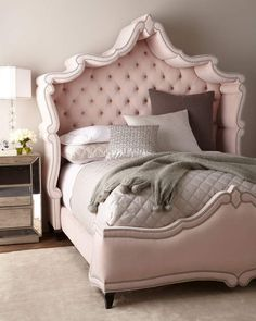 Shop Queen Blush Antoinette Bed and Matching Items from Haute House at Horchow, where you'll find new lower shipping on hundreds of home furnishings and gifts. Hooker Furniture, Shabby Chic Furniture, Furniture Design, Furniture Market, Pink Bedding, Luxury Bedding, Bedding Sets, Home Decor Bedroom, Bedroom Furniture