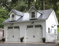 24'x24' Two Story A-Frame 2 Car Garage with Heritage Garage Doors on Eave Side, Dormers, Metal Roof, Gable Vents, Transom Window and Window Trim with Keystone