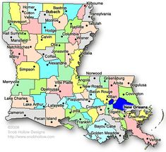 Louisiana | ... color Parish (County) maps, list of cities, towns, State of Louisiana