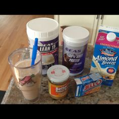 Butterfingers protein shake 1scoop vanilla protein powder 1 scoop chocolate protein powder  1cup almond breeze  almond milk 1tablespoon better'n peanut butter 1teaspoon sugar free butterscotch pudding mix 1 cup crushed ice Blend all together and enjoy!!!