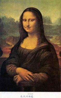 Reproductie van de Mona Lisa gemaakt door Marcel Duchamps in 1930 Titel: L.H.O.O.Q.