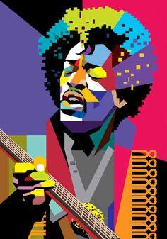 Jimi Hendrix in WPAP by wedhahai on DeviantArt Pop Art Portraits, Portrait Art, House Musik, Jimi Hendrix Poster, Music Illustration, Pop Rock, Rock Posters, Arte Pop, Dubstep