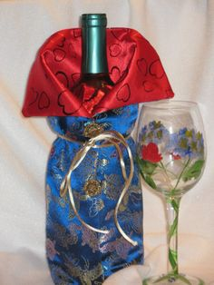 Blue Chinese Brocade With Butterflies Wine bottle by JosieeDesigns, $12.00