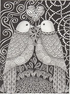 awesome zentangles! Great contrast between the birds and the background.