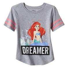 """Disney's The Little Mermaid Girls 7-16 """"Dreamer"""" Ariel Jersey Tee"""