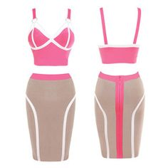 Online Shop Women knee length spaghetti strap color blocked bandage crop top and skirt set bodycon party celebrity crop top and skirt FAH665|Aliexpress Mobile