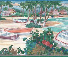 Tropical Beach Scene Wallpaper Border Ctc243b Beach Scene Wallpaper Wallpaper Border Tropical Wallpaper