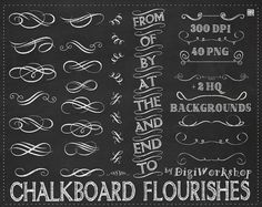 "Chalkboard flourishes clip art - ""Chalkboard Flourishes"" clipart with chalkboard flourishes, ornaments, elements and sign"
