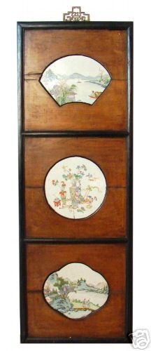 Antique Chinese Three Panel Porcelain Plaque Qing