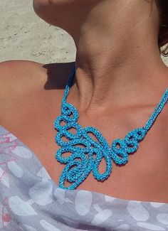 Crochet Necklace Light Blue  Color  Satin Polyester  by knittee