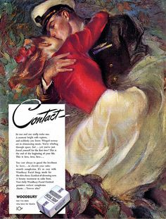Contact - Romantic WWII Woodbury Facial Soap Ad - 1945