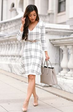 Cascading Classics: draped trench coat + windowpane dress | Extra Petite | Bloglovin'