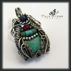 OOAK Pendant with Turquoise, Lapis Lazuli, Coral, and Woven Sterling Silver