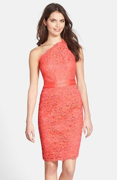 Coral lace one-shoulder cocktail dress | Semi-Formal Wedding Guest Dress