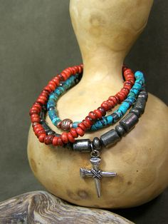 Mens Turquoise Beaded Bracelet Set with Cross by StoneWearDesigns