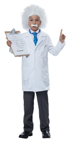 Boys Costumes - This Kids Albert Einstein Costume includes the white lab coat, dickey, blue neck tie, the white wig and also includes the moustache! Also great as a Mad Scientist costume! Career Costumes, Crazy Costumes, Unique Costumes, Costumes For Sale, Albert Einstein For Kids, Albert Einstein Costume, Theme Halloween, Boy Costumes, Halloween Costumes For Kids