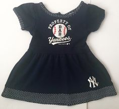 Infant NY Yankees Dress12 Months Navy Blue Polka Dots Property Of Dad Baseball  #TeamAthletics #Casual