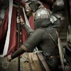 Leather arm defenses are not supported, nor needed in historical situations. However, modern safety and it fills out the look. Also note the Vendel era helmet (i.e. ca 5-800)