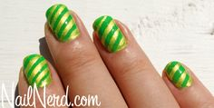 green stripe nails