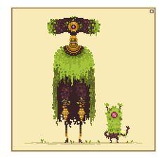Garden Sentinel by Sky-Burial on DeviantArt Cool Pixel Art, Cool Art, Modele Pixel, Pixel Animation, Pixel Design, Video Game Art, Creature Design, Art Tutorials, Art Inspo
