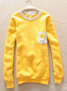 Yellow Pocket Round Neck Sweatshirt$39.00