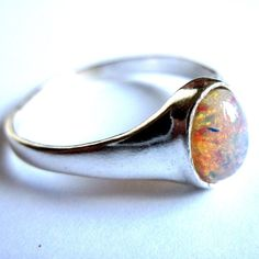 Sterling Silver Boho Ring Pink Harlequin Opalite by gimmethatthing, £19.00