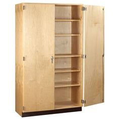 Diversified's Tall Wood Storage Cabinet is sure to withstand years of heavy use. You'll find that there's plenty of space for classroom supplies and teaching materials in this roomy cabinet. Shelves adjust to accommodate your storage needs. Craft Storage Ideas For Small Spaces, Craft Room Storage, Door Storage, Locker Storage, Patio Storage, Garage Storage, Wardrobe Storage, Closet Storage, Office Storage