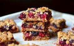 Chewy Blackberry Oat Bars  by yammiesgluenfreedon: {No butter, gluten, or white sugar!} #Bars #Oatmeal #Blackberry #GF