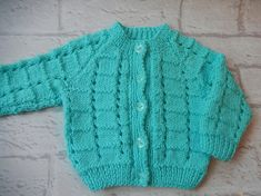 hand knitted baby cardigan / hand knit sweater / mint green