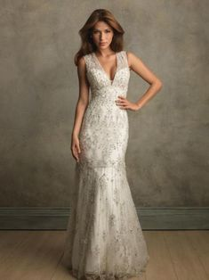 Fishtail embellished champagne ivory wide straps vee neck fitting wedding dress, lace.
