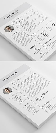 Buy Resume by themedevisers on GraphicRiver. Professional Resume Template / CV Template with super clean and modern look. Elegant Resume page designs are easy to. Cover Letter Design, Cover Letter For Resume, Resume Design Template, Resume Templates, Free Cv Template, Design Resume, Code And Theory, Cv Simple, Cv Curriculum