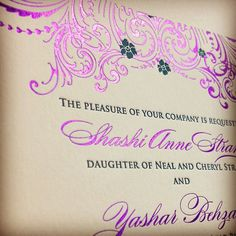 Some bright #purple foil stamping to make you #swoon! #letterpress #wedding #weddinginvitation