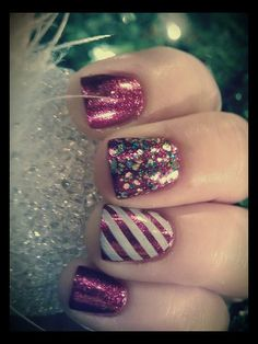 Cute Holiday Nails #shimmer #stripes  #nailart