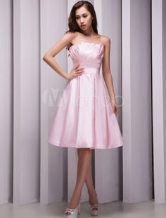A-line Strapless Beading Pink Satin Bridesmaid Dress - Milanoo.com