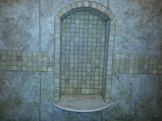 Shower niche with stone shelf curved and shaped with an eyebrow arch. Bathroom Niche, Shower Niche, Master Bathroom, Bathroom Ideas, Bathrooms, Arched Eyebrows, Litter Box, Home Projects, Home Remodeling